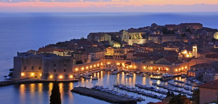 Old Harbour with lights, Dubrovnik, Croatia